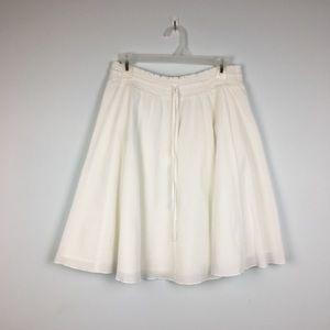Ann Taylor Loft White Gauze A Line Skirt. MP